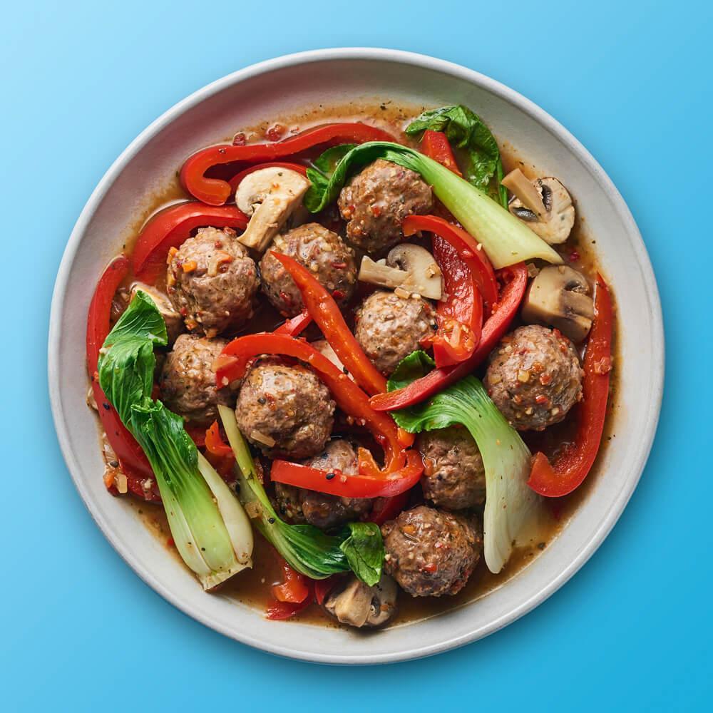 BIO Asiatische Rindfleischbällchen mit Gemüse - In Minutes - Love Asia
