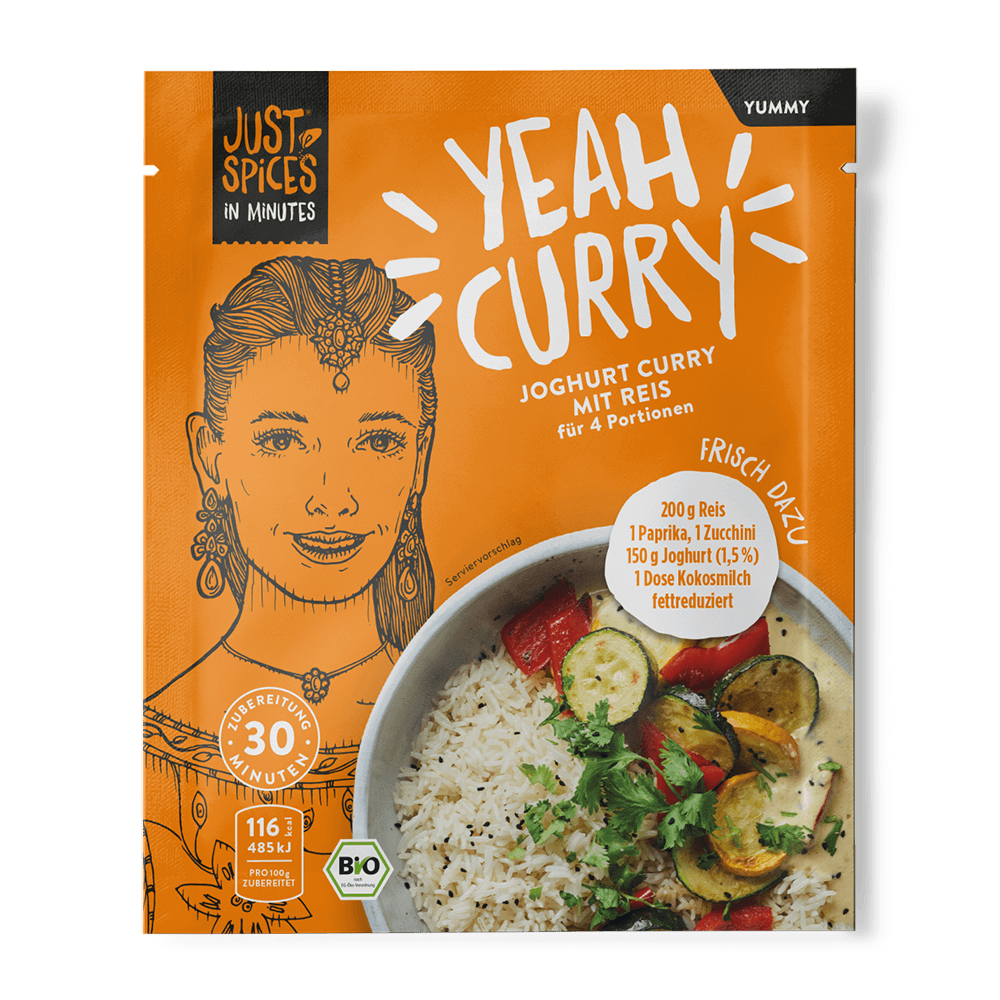 BIO Joghurt Curry mit Reis - In Minutes - Yeah Curry