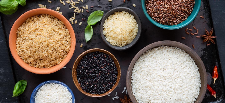 Verschiedene Reissorten, Langkornreis und Rundkornreis
