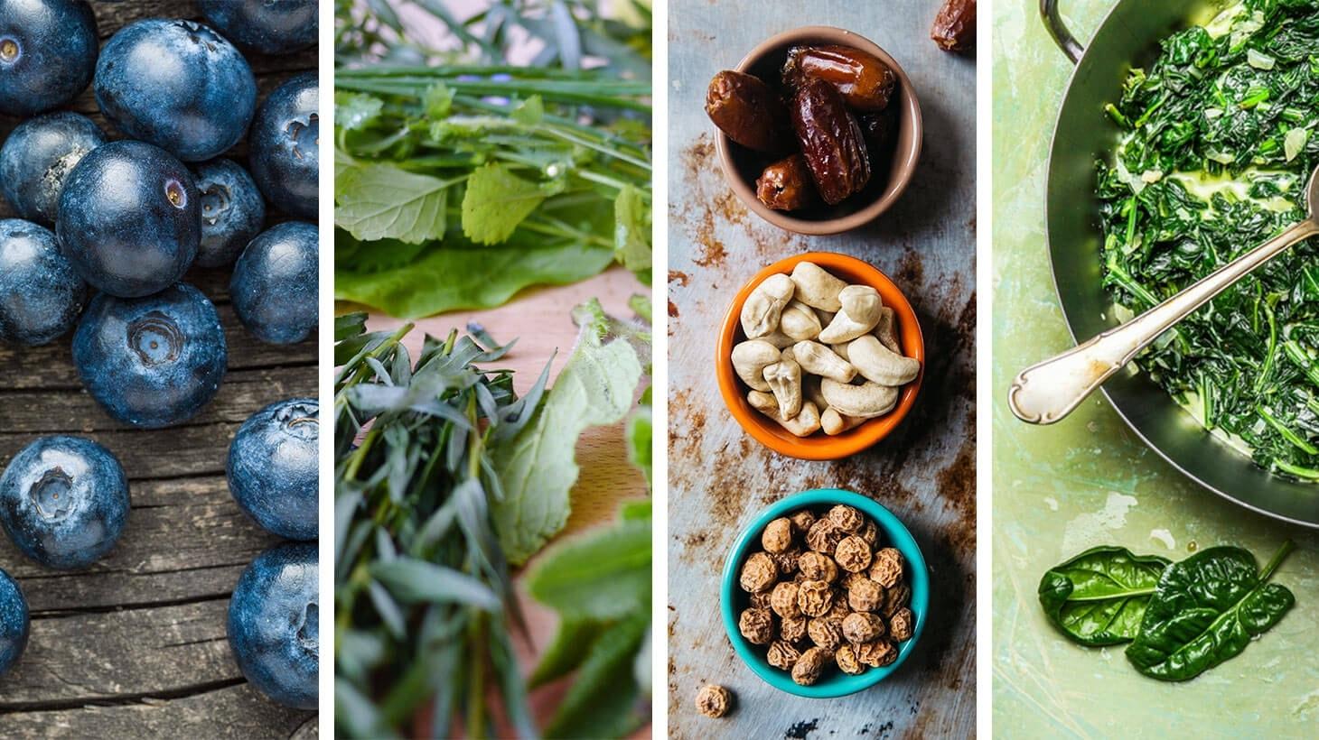 regionale superfoods: Heidelbeeren, Kräuter, Nüsse und Spinat