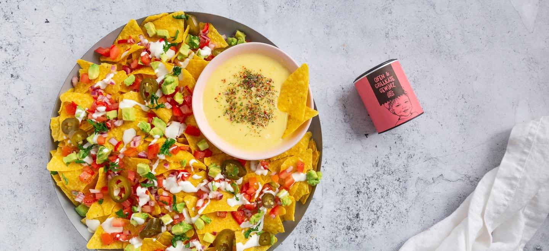 Nachos-mit-Käse-Dip