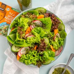 Bunter Salat mit Radieschen und Dressing Mix