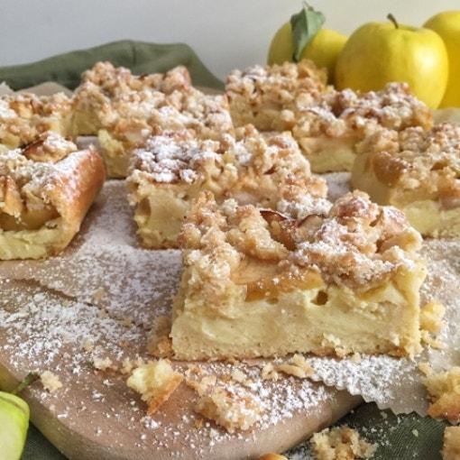 Apfelkuchen mit Pudding & Streuseln