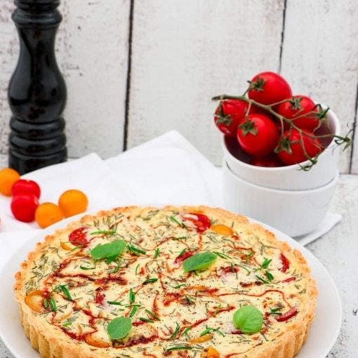 Tomatenquiche mit Ziegenfrischkäse