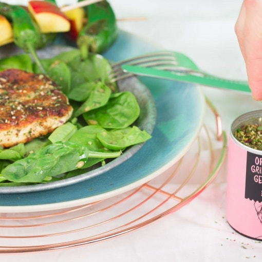 Halloumi-Paprika-Spieße mit Spinat