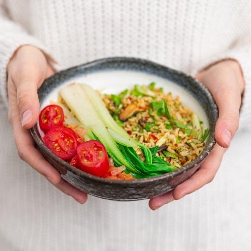 Basmati Reis mit Pak Choi und geröstetem Spargel