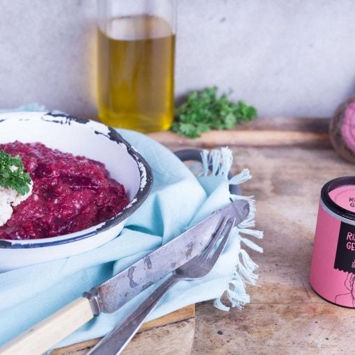 Rote Beete Risotto mit Meerrettichschaum