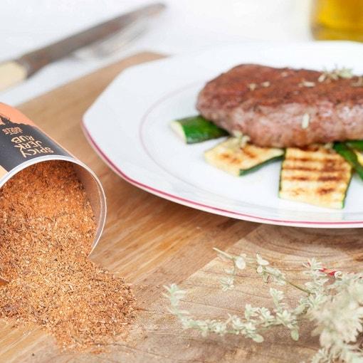 Beef mit gegrillter Zucchini