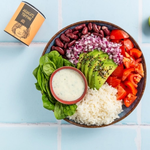 Burrito con aguacate en bowl