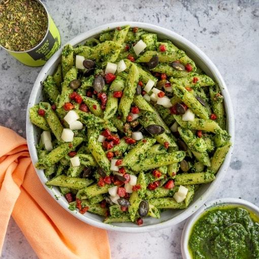 Penne mit Feldsalat Pesto und Birne
