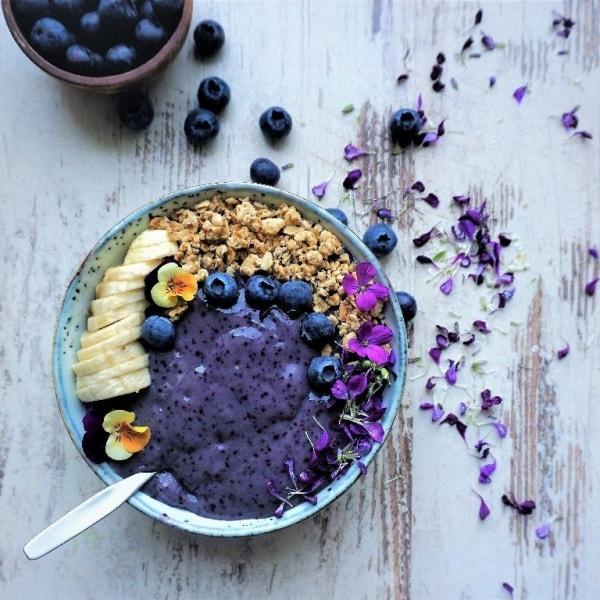 Flohsamen-Blaubeer-Pudding