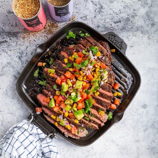 Flank Steak mit Gemüse-Salsa
