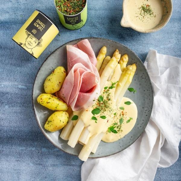 Spargel mit Hollandaise, Kartoffeln und Schinken
