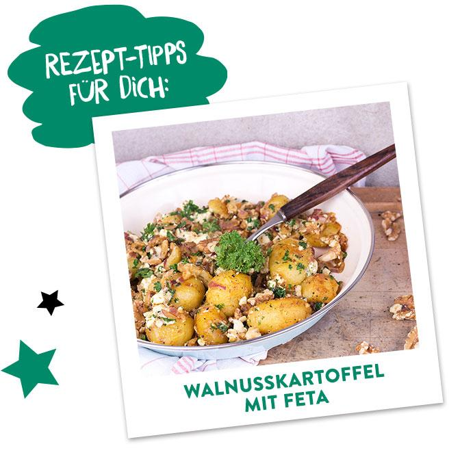 Walnuss Bratkartoffeln mit Feta