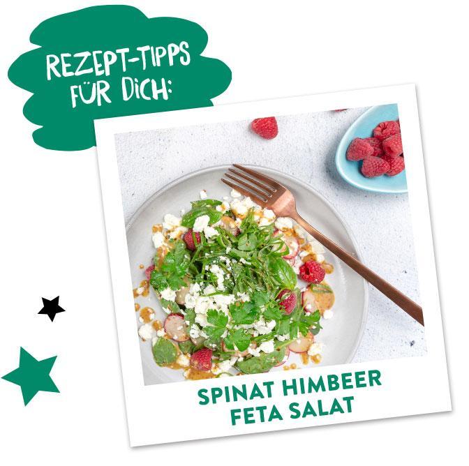 Spinat Feta Himbeer Salat